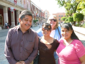 Pastor Manuel Tovar with daughter in law Luz, wife Lupita and Kate in back