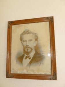 John L. Stephens portrait hangs in Ahualulco Church chapel