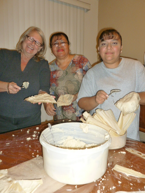 """Kate's tamale lesson with Lolis and her daughter Heidi at the """"parsonage"""" of the Lopez Espino family"""