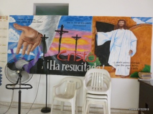 This mural on Villas del Sol's sanctuary wall was painted by a church member