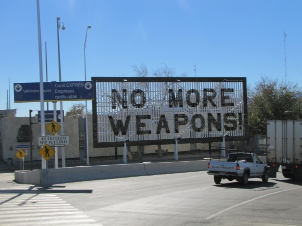 Sign made of confiscated firearms in the Mexican border city of Ciudad Juarez.  Photo by Monica Ortiz Uribe of Fronteras
