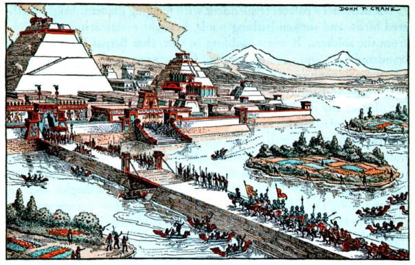 "Cortes and troops were dazzled as they entered the ""capital of the Western world"", Tenochtitlan (now Mexico City) on November 8, 1519."