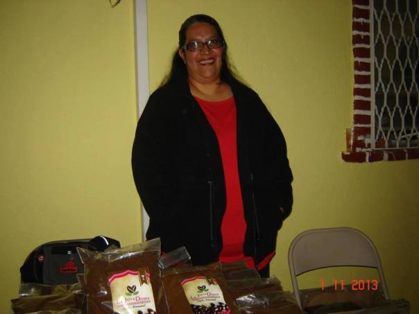 Nohemi Bravo is selling coffee after presenting the project at a church in San Luis Potosi