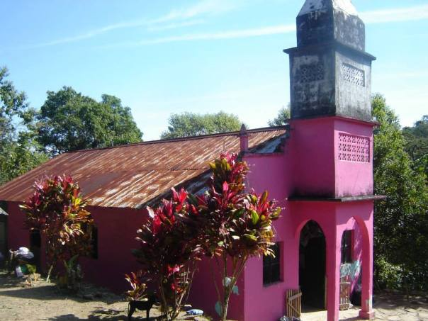 The freshly painted La Joya Church in the hills above Xilitla in the Sierra Huasteca