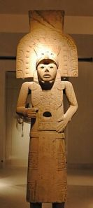 A statue of the Huastec culture carved from stone around 1400 AD