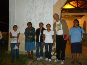 Some of the coffee project participants with Doug outside the Church