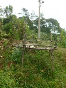 A platform next to the La Joya Church for drying coffee