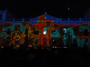 Piñatas and dragons were recurring images of the Light Show in the Plaza