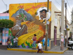 A street mural depicting Graciano Sanchez, educator and martyr of the 1914 Revolution
