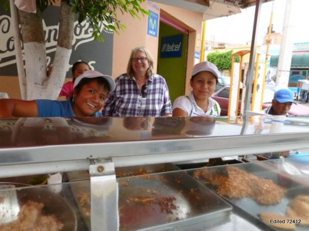 A satisfied customer, Kate!, after a lunch of tacos at this stand next to the Plaza in Soledad.