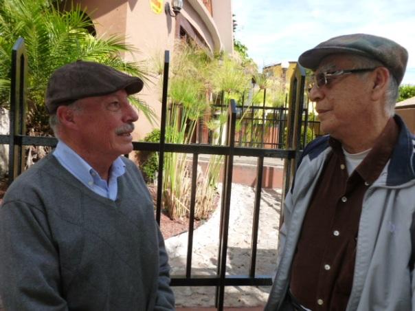 Sr. Reynaldo Islas (on l.) and Sr. Hemer Sierra both achieved their engineering degrees with Guy Mantle's help.  /  Gracias al misionero Sr. Guy Mantle Sr. Reynaldo Islas ( iz.) y Sr. Hemer Sierra cumplieron su entrenamiento como ingenieros