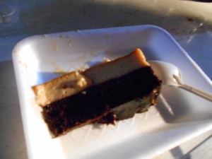 Juan Jose has his favorite cake--Chocolate on the bottom and Flan on the top