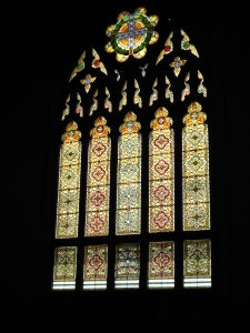 Stained Glass on back wall of sanctuary