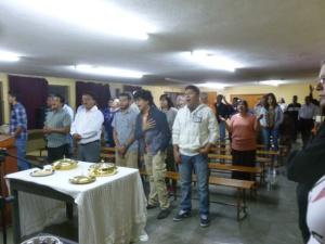 The Disciples conclude a Church Assembly with the Lord's Supper/La Santa Cena concluye la Asamblea de las Iglesias en San Luis Potosí