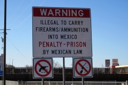Sign at the U.S.-Mexico border in Texas. Photo by John Lindsay-Poland, Fellowship of Reconciliation