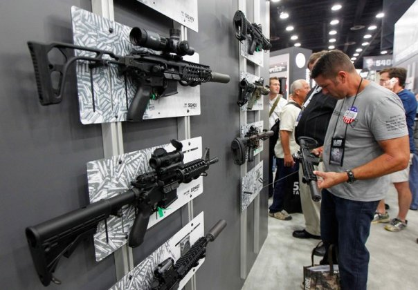 The Sig Sauer AR 15 model such as the one used in the Orlando shootings.  John Sommers II photo, Reuters.