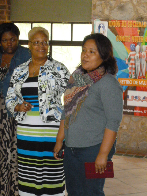 Rev. Lisania Sustaita Martinez on right speaking to the U.S. Women to Women delegation visiting México in 2013.