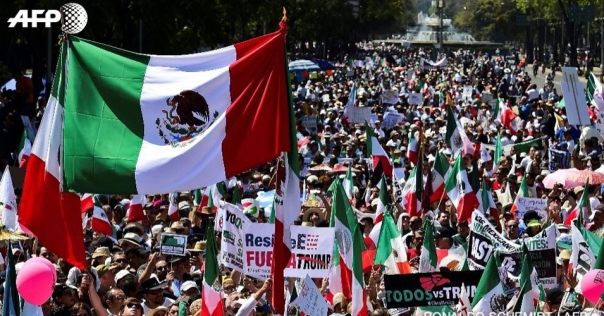 Upwards of 20,000 people in Mexico City on Sunday Feb. 12 protest the language and policies of the current U.S. administration