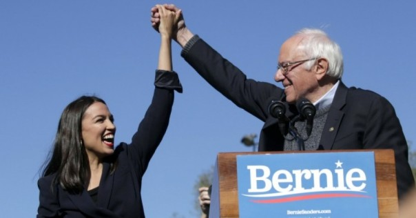 Three of the four progressive young women elected to Congress in 2018 now known as The Squad have endorsed Sanders for President.  Photo from Commondreams.org