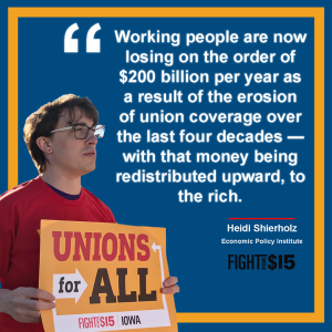Sen. Bernie Sanders is a fierce defender of the rights of labor to organize unions for fair wages and benefits.